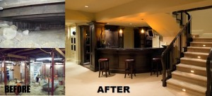 basement remodeling before and after